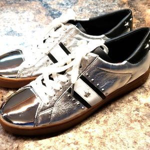Michael Kors shiny silver tennis shoes sneakers